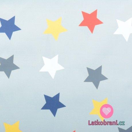 Šusťák barevné hvězdy na šedém podkladu