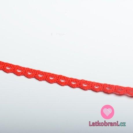 Krajka paličkovaná 8 mm červená