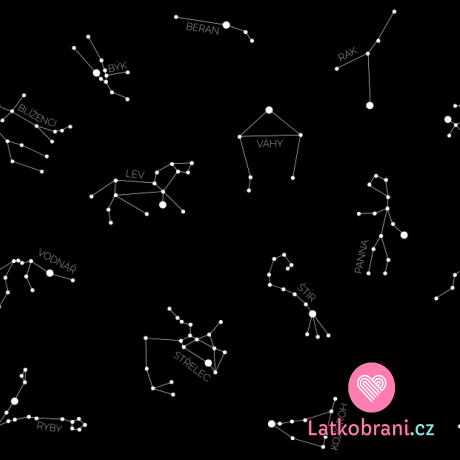 Úplet potisk souhvězdí a znamení zvěrokruhu na černé