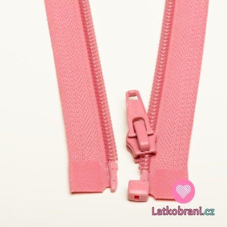 Zip spirálový dělitelný růžový 60cm