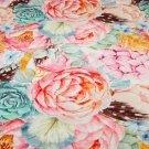 Teplákovina květy barevné s pírky