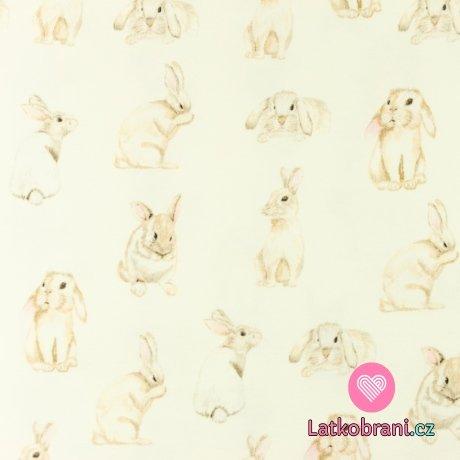 Úplet potisk králíčci na smetanové