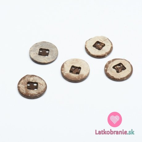 Knoflík z kokosu, čtyřdírkový oboustranný