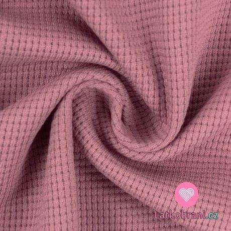Bavlněná vaflovina jednobarevná růžová
