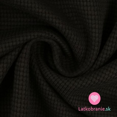 Bavlněný vaflový úplet jednobarevný černý