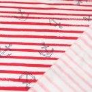 Teplákovina POČESANÁ kotvy na červených proužcích
