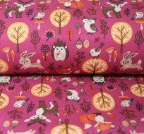 Softshell zvířátka sova, liška, jelen na malinové