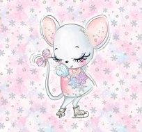 Panel myška Stydlín v bruslích na růžové