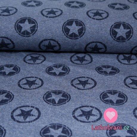 Teplákovina patinované hvězdy v kruhu na jeansově modré