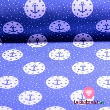 Softshell zimní modré kotvičky v kruhu na světle modré
