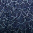 Džínovina bordura skládané květy tmavě modrá ZBYTEK 1+,1,1+0,6 m