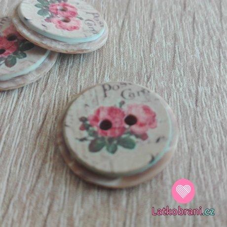 Knoflík imitace dřeva s růžemi
