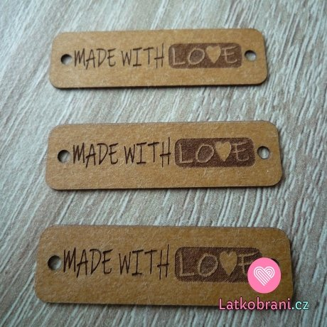 """Štítek na oblečení """"Made with love"""" hnědý"""