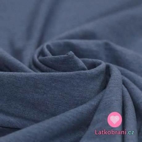 Jednobarevný úplet modré jeans melé 240 g