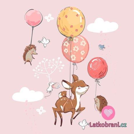 Panel srnečka s balónky na růžové