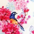 Teplákovina potisk ptáčci na rozkvetlých větvích