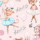 Teplákovina potisk sladká zvířátka baletí
