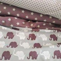 Sloní pochod šedo-starorůžovo-bílá kombinace
