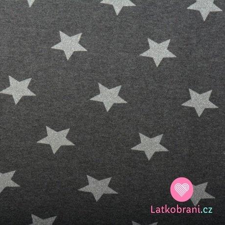 Teplákovina počesaná šedé třpytivé hvězdičky na černošedém melé