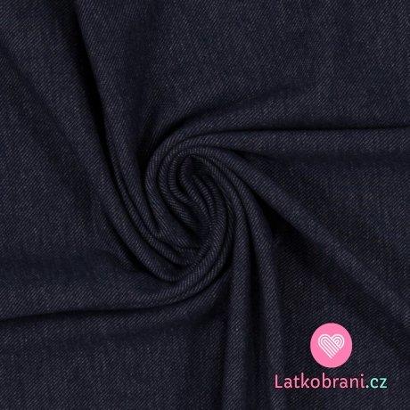 Teplákovina jeans efekt tmavě modrá