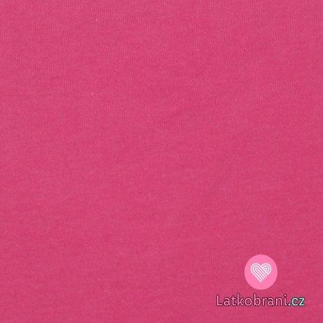 Jednobarevný, oboulícní bavlněný úplet malinově růžový