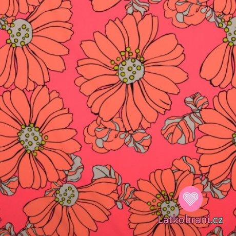 Plavkovina (lycra) oranžové květy na růžovém podkladu