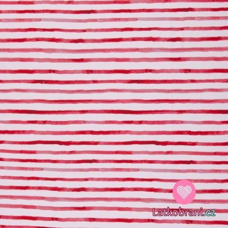 Úplet potisk malované červené proužky na bílé