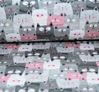Teplákovina kočky šedé, růžové v řadě