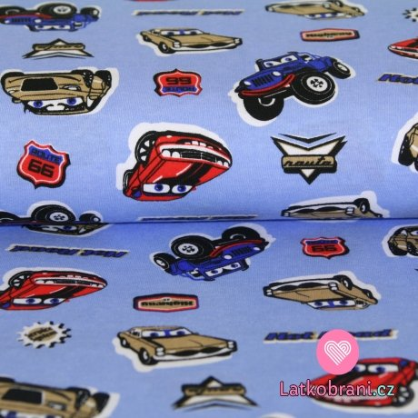 Úplet malovaná autíčka na modré