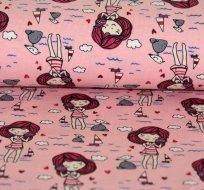 Úplet holčička s mušlí na růžové