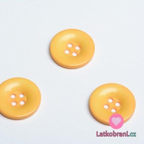 Knoflík hladký lesklý žlutý s obrysy do oranžova 28 mm