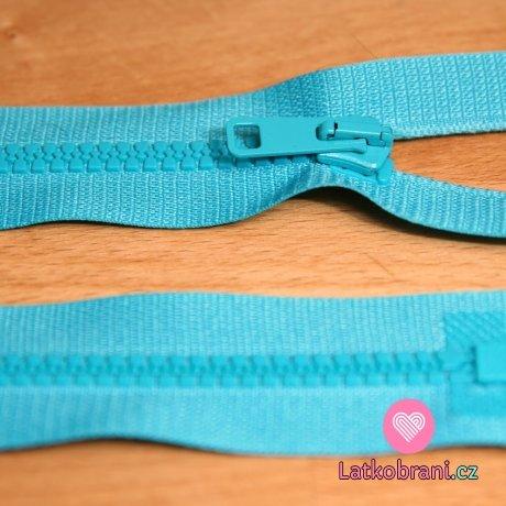 Zip kostěný dělitelný 65cm tyrkysová