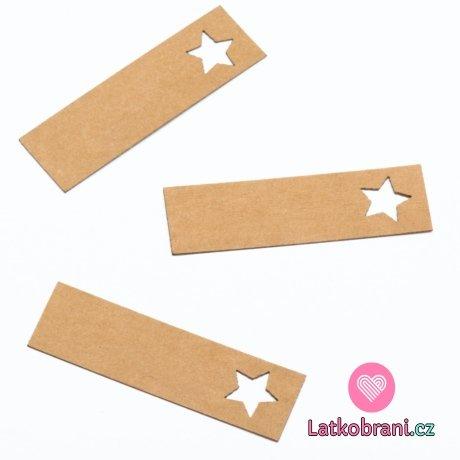 Štítek na oblečení hvězda 50x15 mm