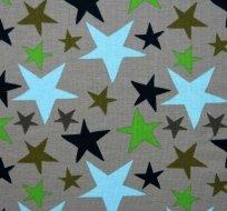 Úplet hvězdy čtyř barev modrá, zelená na šedé