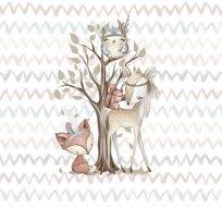 Panel lesní zvířátka u stromu