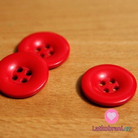 Knoflík hladký lesklý červený 24mm