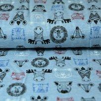 Úplet hlava zebra, lev, liška na šedé melé