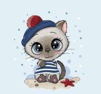 Panel kočka v pruhovaném triku a modré čepici