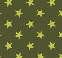 Teplákovina potisk neonově zelené hvězdičky na khaki zelené