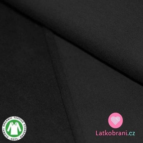 Teplákovina počesaná černá BIO bavlna