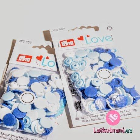 Patentky plastové Color snaps PRYM LOVE bílé, světle modré, tmavě modré, bílé