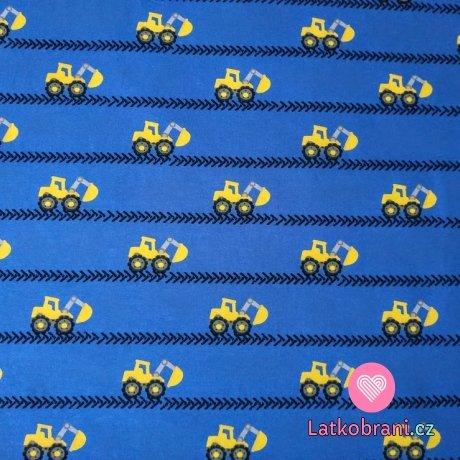 Úplet digitisk žluté bagry v pruzích na modré