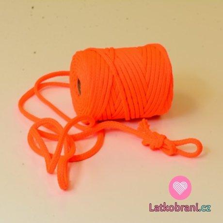 Šňůra kulatá oděvní PES 7 mm neonově oranžová