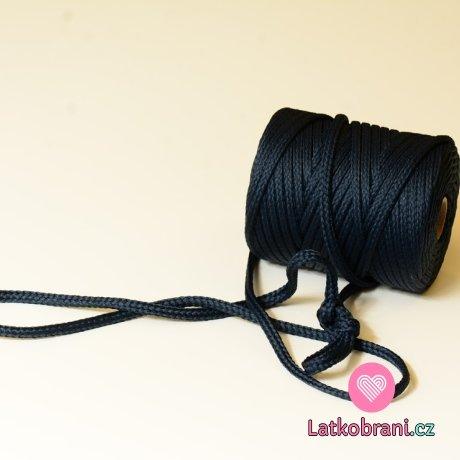 Šňůra kulatá oděvní PES 7 mm temně modrá