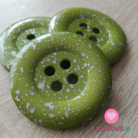 Knoflík mega velký zelený se stříbrnými cákanci
