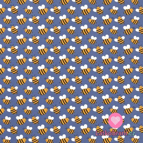 Úplet potisk boubelaté včeličky na inkoustově modré
