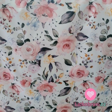 Softshell letní potisk rozkvetlé růže na ecru