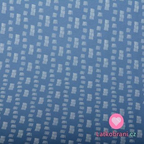 Teplákovina počesaná šrafované kostičky na modré