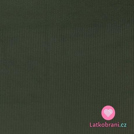 Elastický manšestr khaki zelený