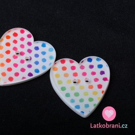 Knoflík srdíčko s barevnými puntíky - velké